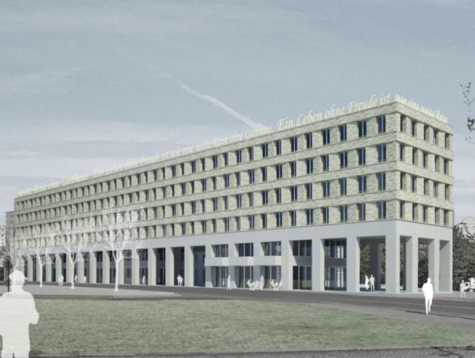 Fassadengestaltung am Postplatz, Dresden, 1. Platz